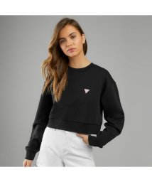 GUESS/ゲス GUESS Cropped Triangle Logo Crew-Neck Sweat (JET BLACK)/503221884