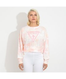 GUESS/ゲス GUESS Mirtilla Tie-Dye Triangle Logo Fleece Sweat (PINK TIE DYE)/503221927
