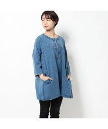 KANKAN/カンカン KANKAN コットンフラックス刺繍チュニック (インディゴ)/503225169
