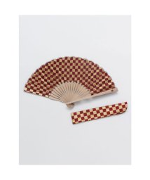 KAYA/【カヤ】紳士用 金市松扇子 袋付き エンジ/503225749