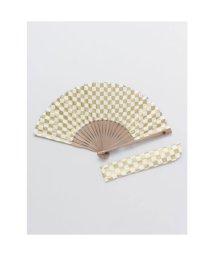 KAYA/【カヤ】紳士用 金市松扇子 袋付き ホワイト/503225751