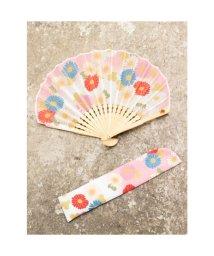 KAYA/【カヤ】菊あつめ扇子 袋付き ピンク/503225944