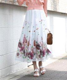 QUEENS COURT(LSIZE)/【大きいサイズ】裾フラワープリントフレアスカート/503247836