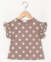 b-ROOM/袖フリルドットTシャツ/503196708
