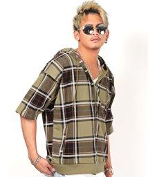 LUXSTYLE/ミニ裏毛五分袖ジップパーカー/パーカー メンズ スウェット 五分袖 プルオーバー ビッグシルエット BITTER ビター系/503254761