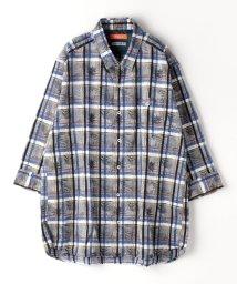 HIDEAWAYS NICOLE L/<大きいサイズ>ボタニカル柄七分袖シャツ/503245541