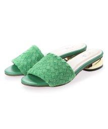 RiiiKa/リーカ RiiiKa 編み込みゴールドヒールサンダル (green)/503264358