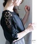 Sawa a la mode/花レース肩透ける袖リボントップス/503264471