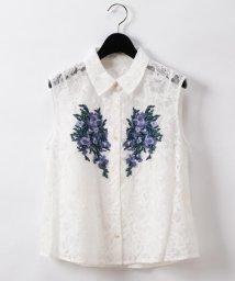 GRACE CONTINENTAL/刺繍レースシャツノースリーブ/503266014