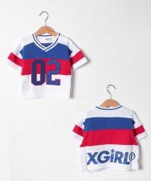 X-girl Stages/切り替えナンバリングTシャツ/503206235