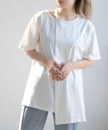 ANDJ/リサイクルコットン肩開きアシンメトリーTシャツ/503268728