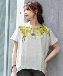 HAPPY EXP/フラワーネックプリントTシャツ/503271492