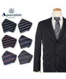 AQUASCUTUM/アクアスキュータム AQUASCUTUM ネクタイ メンズ ストライプ イタリア製 シルク ビジネス 結婚式 ブラック グレー ネイビー 黒/503015124