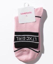 Lovetoxic/リブバイカラーロゴクルーソックス/503246140