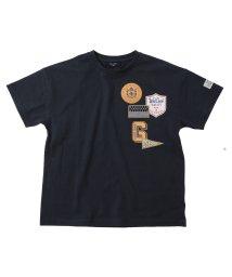 GLAZOS/天竺・ドロップショルダーワッペンプリント半袖Tシャツ/503275702