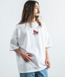 Rocky Monroe/Tシャツ メンズ レディース 半袖 ビッグシルエット 白 刺繍 バラ ポンチ カジュアル ルーズ リラックス ゆったり 9528/503275728