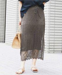 eur3/【大きいサイズ】透かし編みニットスカート/503278298