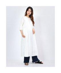 KANKAN/カンカン KANKAN コットンドビードッキングT-シャツドレス (ホワイト)/503280869