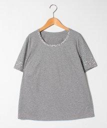 GUEST JOCONDE/【大きいサイズ】【洗える】ストーンTシャツ/コットン天竺ジャージー/503194512