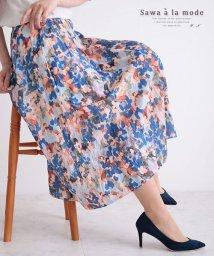 Sawa a la mode/水彩画風花模様のフレアスカート/503282211