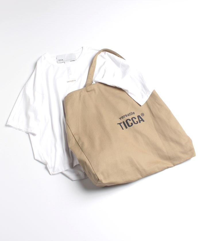 サラリと着られて大人っぽい。magaseek限定のTICCA×川上桃子コラボ・ロゴTシャツ&トートバッグセット