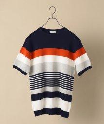 SHIPS MEN/SD: 【手洗い可能】14ゲージ パネル マルチ ボーダー クールネック ニットTシャツ/503284835