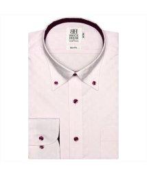 BRICKHOUSE/形態安定 ノーアイロン 半袖ワイシャツ ボタンダウン ピンク×市松格子織柄/503285655