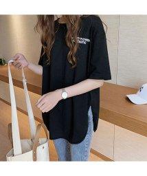 miniministore/ロングtシャツ レディース ゆったり カットソー サイドスリット tシャツ 英字ロゴ 体型カバー 半袖 春夏 トップス オーバーサイズ/503285446