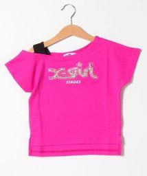 X-girl Stages/スパンコール入りクリアロゴワンショルTシャツ/503275306