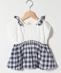 petit main/ギンガムドッキングTシャツ/503278575