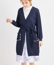 tocco closet/ウエストりぼん付きポケットビジュー装飾ロングカーディガン/503282452