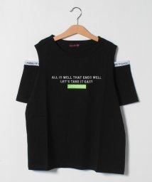 Lovetoxic/ロゴ刺しゅう肩開きコットンTシャツ/503264547
