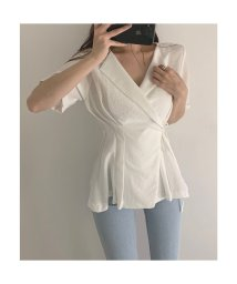 Jewelobe/ジュエローブ Jewelobe ウエストタックカシュクールシャツ (ホワイト)/503292711