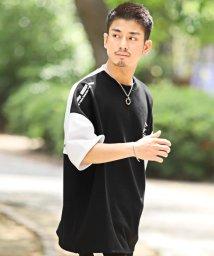 LUXSTYLE/バイカラーBIG半袖Tシャツ/Tシャツ メンズ 半袖 5分袖 ビッグシルエット バイカラー ロゴ プリント/503301851