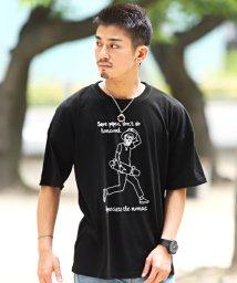 LUXSTYLE/手描き風プリント半袖Tシャツ/Tシャツ メンズ 半袖 ビッグシルエット プリント イラスト ロゴ/503301855
