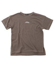 GLAZOS/梨地・ドロップショルダー刺繍ロゴ半袖Tシャツ/503302075