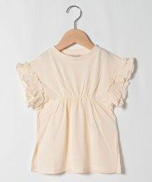 petit main/袖フリルシャーリングロングTシャツ/503284610