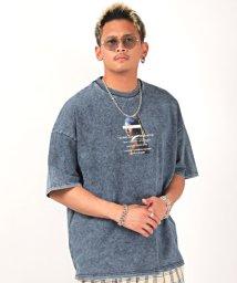 LUXSTYLE/カットデニムプリント半袖Tシャツ/Tシャツ メンズ レディース 半袖 カットデニム ビッグシルエット/503304665