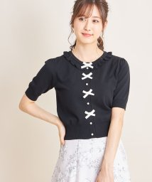 tocco closet/フリル&りぼん付きパール釦カーディガン/503294911