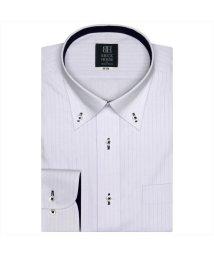 BRICKHOUSE/ワイシャツ 長袖 形態安定 ボタンダウン パープル×ストライプ織柄 標準体/503311293