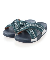 FITFLOP/フィットフロップ fitflop LULU METALLIC WEAVE SLIDES (Sea Blue Metallic)/503308491