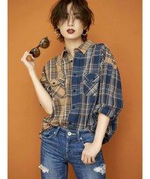 GYDA/コンビチェックシャツ/503301201