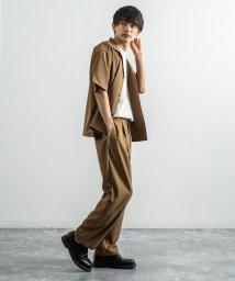Rocky Monroe/セットアップ メンズ 夏 上下 半袖 シャツジャケット テーパードパンツ 2点セット カジュアル ビッグシルエット 無地 ストリート 薄手 ゆったり 9555/503319202