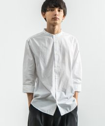 Rocky Monroe/カジュアルシャツ メンズ 白シャツ 7分袖 無地 ビジネス ノーカラー スタンドカラー バンドカラー ブロード ポプリン 綿 コットン シンプル 日本製 国産 /503319204