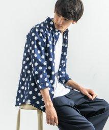 Rocky Monroe/カジュアルシャツ メンズ 総柄 白 7分袖 ボタンダウン ホワイト 水玉 ドット柄 スリム 細身 綿 コットン 日本製 国産 9558/503319205