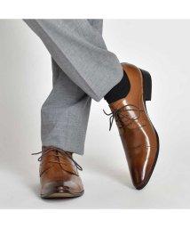 SVEC/革靴 本革 メダリオン レースアップ ビジネスシューズ LLT78-1 ブランド LUCIUS 革靴 メンズ ビジネスシューズサイドゴア ロングノーズ本革靴 黒/503300314