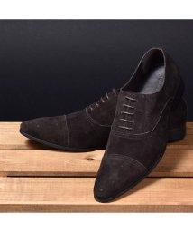 SVEC/革靴 本革 メダリオン レースアップ ビジネスシューズ LLT79-1 ブランド LUCIUS 革靴 メンズ ビジネスシューズサイドゴア ロングノーズ本革靴 黒/503300315
