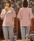 miniministore/ルームウェア レディース セットアップ パジャマ 部屋着 上下セット 5分袖 tシャツ ジョガーパンツ ナイトウェア/503322876