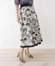 SOUP/【大きいサイズあり・13号】ベルト付き水彩風ブロードAラインスカート/503325776