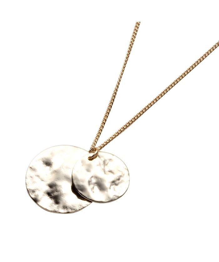 クリームドット クラフト感漂う、ダブルコインのショートネックレス レディース ゴールド ワンサイズ 【cream dot】